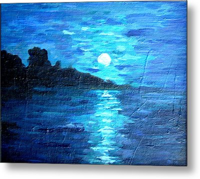 blue moon over lake couer da  lane Idaho Metal Print