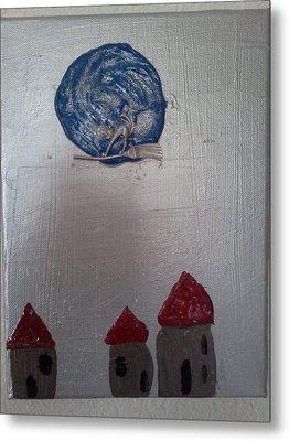 Blue Moon Red Roof Metal Print