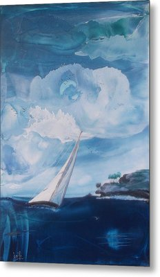Blue Moon Sail Metal Print by Danita Cole