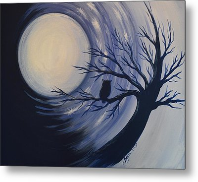 Metal Print featuring the painting Blue Moon Vortex With Owl by Agata Lindquist