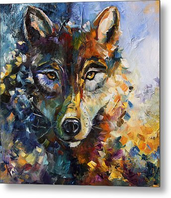 Blue Moon Wolf Metal Print