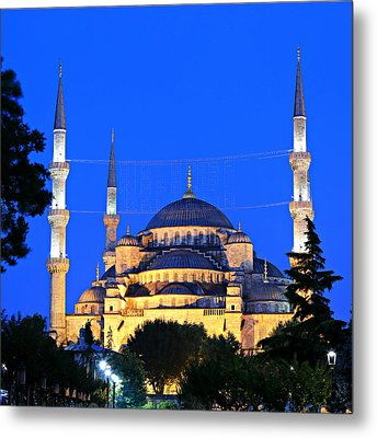 Blue Mosque At Dawn Metal Print by Stephen Stookey