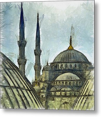 Blue Mosque Drawing Metal Print