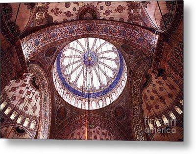 Blue Mosque Interior Metal Print by John Rizzuto