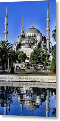 Blue Mosque Reflection Metal Print by Stephen Stookey