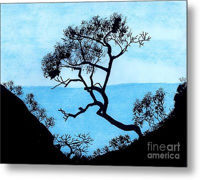 Metal Print featuring the drawing Blue Mountain by D Hackett