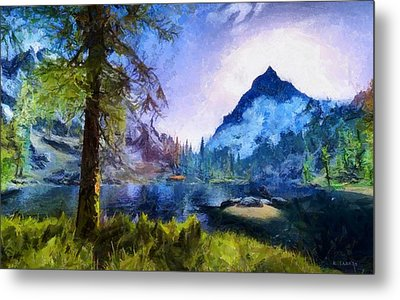 Blue Mountain Of Skyrim Metal Print