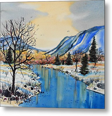 Metal Print featuring the painting Blue Mountains by Terry Banderas
