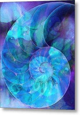 Blue Nautilus Shell By Sharon Cummings Metal Print by Sharon Cummings