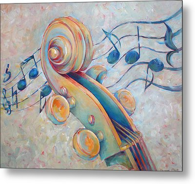 Blue Notes - Cello Scroll In Blues Metal Print by Susanne Clark