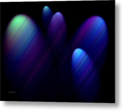 Blue Ovals With Lines Metal Print by Mario Perez