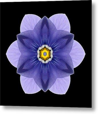 Blue Pansy I Flower Mandala Metal Print