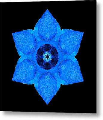 Blue Pansy II Flower Mandala Metal Print