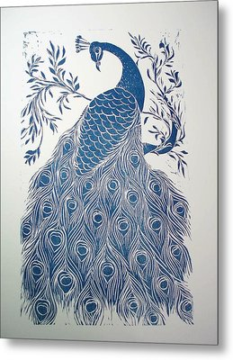 Blue Peacock Metal Print by Barbara Anna Cichocka