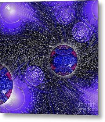 Metal Print featuring the digital art Blue Pearl Planet Beta by Hanza Turgul