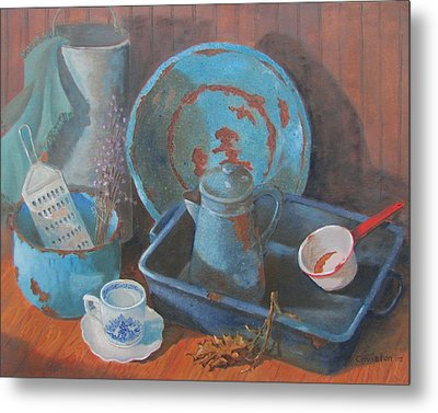 Metal Print featuring the painting Blue Period by Tony Caviston