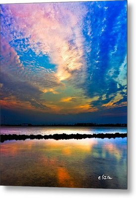 Metal Print featuring the photograph Blue Pink Clouds Reflection Lake Landscape Vertical Panorama Art Prints by Eszra Tanner