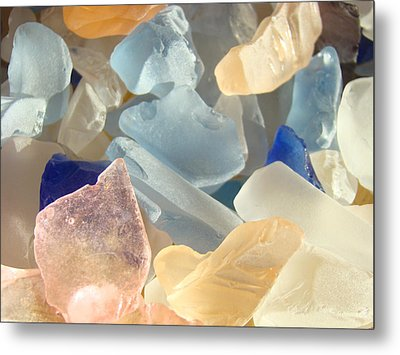 Blue Pink Orange Seaglass Beach Garden Metal Print by Baslee Troutman
