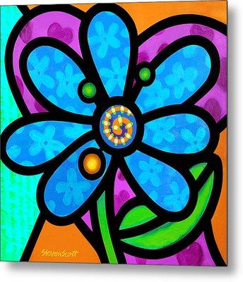 Blue Pinwheel Daisy Metal Print
