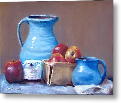 Blue Pitchers And Apples Metal Print by Jack Skinner