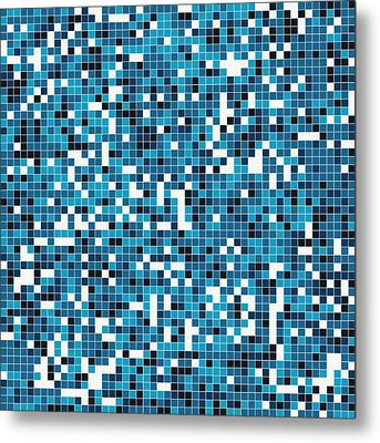 Blue Pixel Art Metal Print by Mike Taylor