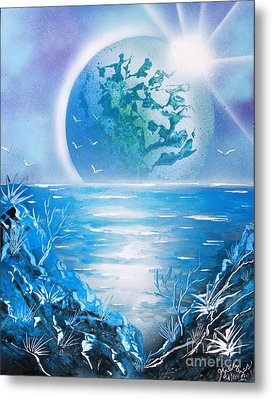 Metal Print featuring the painting Blue Moon by Greg Moores