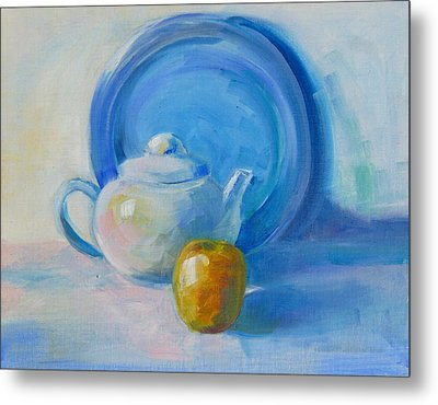 Blue Plate Special Metal Print by Valerie Lynch