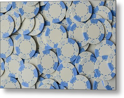 Blue Poker Chip Background Metal Print