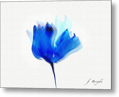 Blue Poppy Silouette Mixed Media  Metal Print