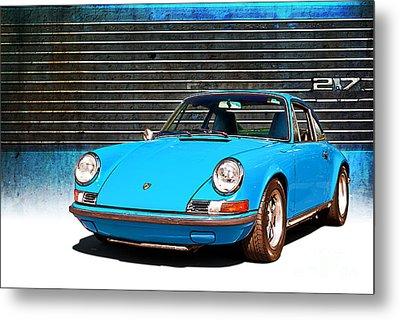 Blue Porsche 911 Metal Print