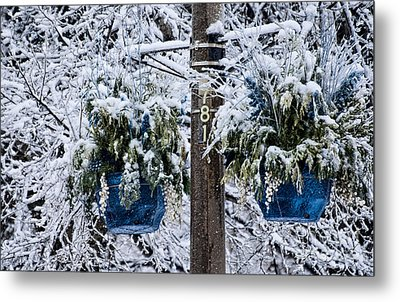 Blue Pots After Ice And Snow Storms Metal Print