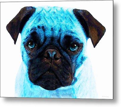 Blue - Pug Pop Art By Sharon Cummings Metal Print by Sharon Cummings