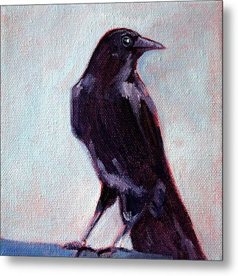 Blue Raven Metal Print by Nancy Merkle
