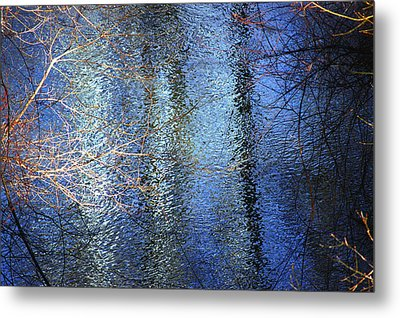 Blue Reflections Of The Patapsco River Metal Print by Cara Moulds