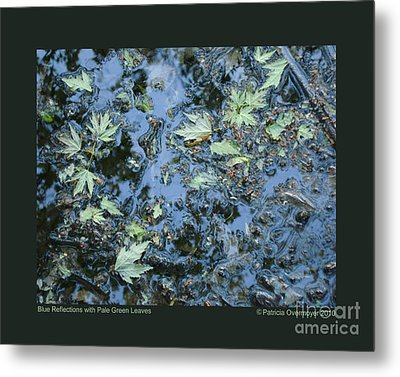 Blue Reflections With Pale Green Leaves Metal Print by Patricia Overmoyer