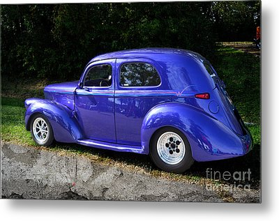 Blue Restored Willy Car Metal Print by Luther Fine Art