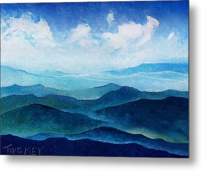 Blue Ridge Blue Skyline Sheep Cloud Metal Print