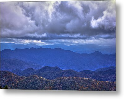 Under The Cloud Cover Blue Ridge Mountains North Carolina Metal Print by Reid Callaway