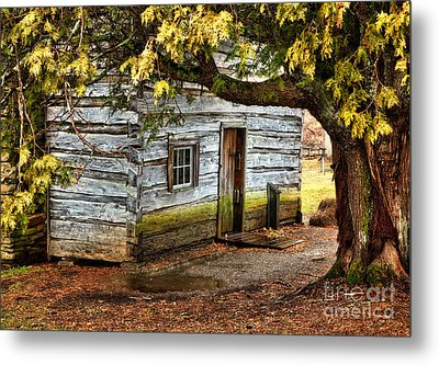 Blue Ridge Parkway - Mabry Mill Building In The Rain Metal Print by Dan Carmichael