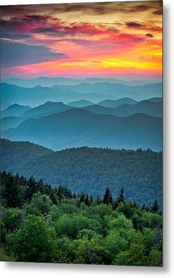 Blue Ridge Parkway Sunset - The Great Blue Yonder Metal Print by Dave Allen