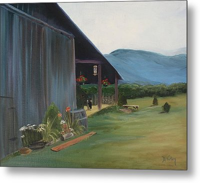 Metal Print featuring the painting Blue Ridge Vineyard by Donna Tuten