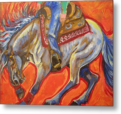 Blue Roan Reining Horse Spin Metal Print