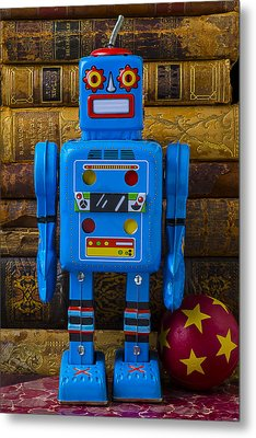 Blue Robot And Books Metal Print by Garry Gay