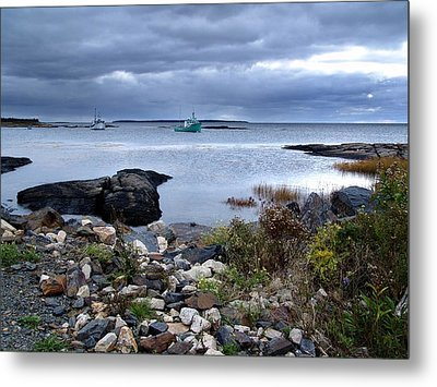 Blue Rocks Late October Day Metal Print by Janet Ashworth