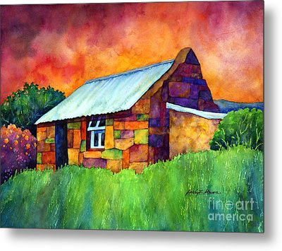Blue Roof Cottage Metal Print by Hailey E Herrera