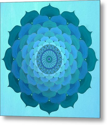 Blue Rose Mandala Metal Print by Vlatka Kelc
