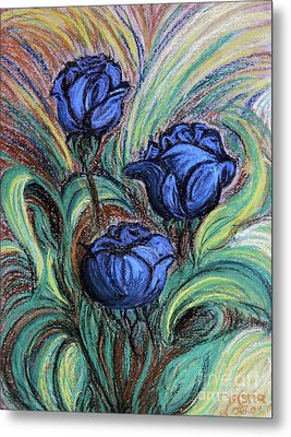 Metal Print featuring the painting Blue Roses by Jasna Dragun