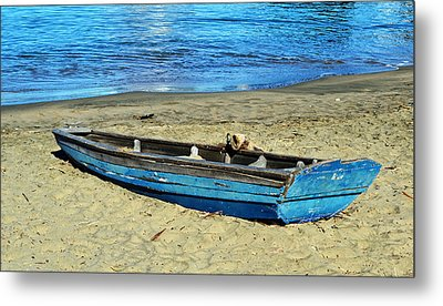 Blue Rowboat Metal Print by Holly Blunkall