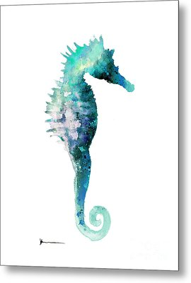 Blue Seahorse Watercolor Art Print Painting Metal Print by Joanna Szmerdt