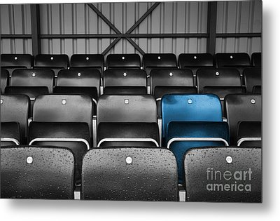 Blue Seat In The Football Stand Metal Print by Natalie Kinnear